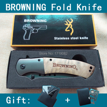 Exquisite Top Quality Browning 328 Wooden handle Outdoor Camping Steel Portable Survival Folding Hunting knives Gift card knife