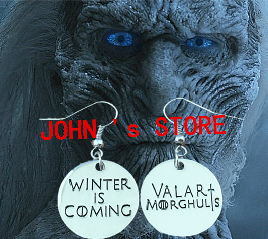 Freeshipping wholesale 20pc a lot Game of Thrones Winter is Coming Valar Morghulis Earring XSEH02<br><br>Aliexpress