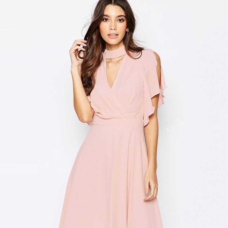 Plus Size 2XL Summer Style Women Dress V-neck Hollow Out Short Sleeve Pink Chiffon Dress Elegant Solid Office Dress H766(China (Mainland))