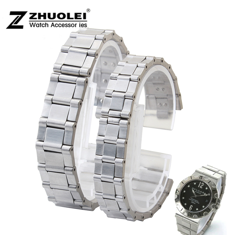 Watch Band 18mm 22mm New Ladies Mens Silver Pure Solid Stainless steel Brushed Watch Bands Strap Depolyment Watch Buckle<br><br>Aliexpress