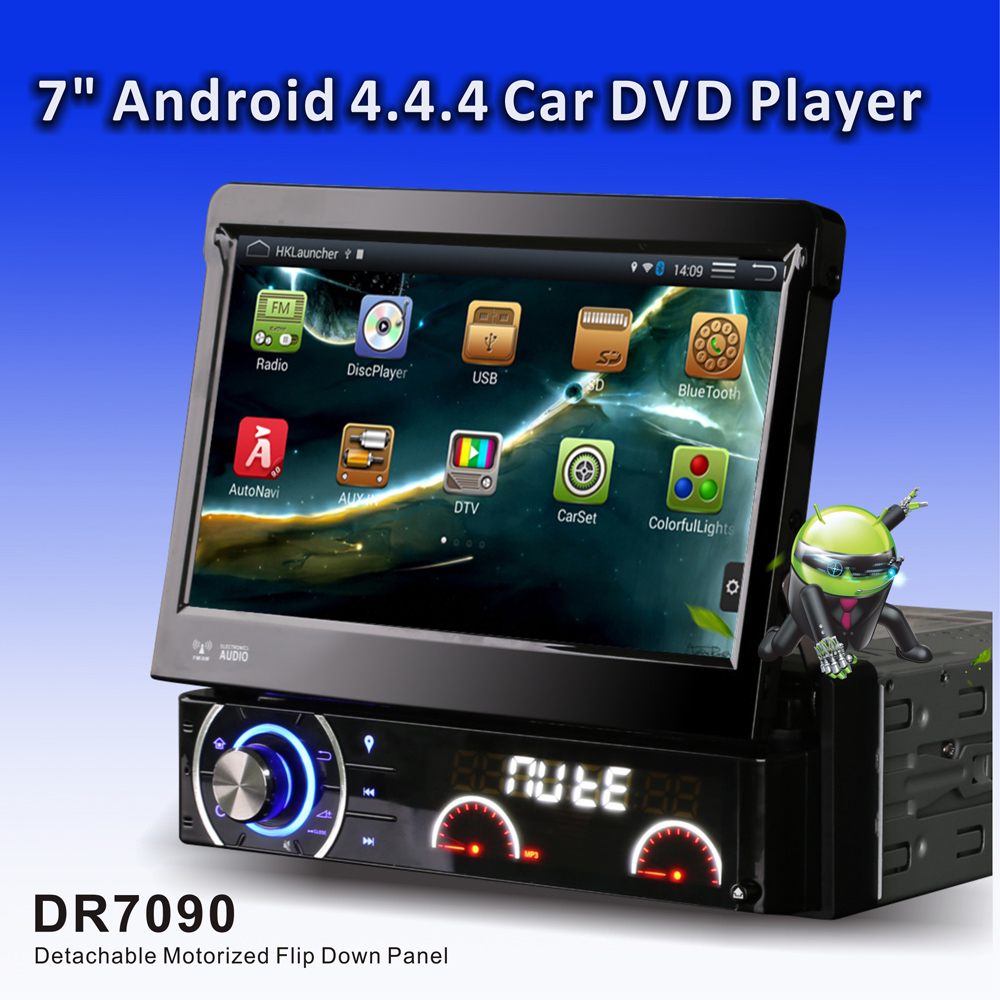 """7"""" motorized retractable panel 1Din car dvd radio quad core Android 1024*600 with AM FM GPS DAB RDS DVR 3G WiFi Bluetooth DR7090(China (Mainland))"""