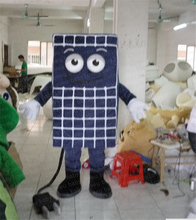 Cool Blue Solar Panel Battery Cell Energy Accumulator Mascot Costume With Blue Square Head Bright Big Eyes Free Shipping
