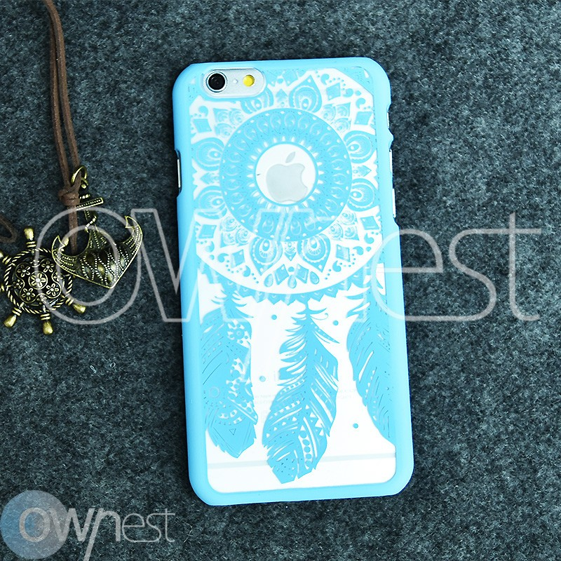 OWNEST Frosted Phone Case for Apple iPhone 6 6S Case Shell Vintage Damask Flower Pattern Fashion Luxury PC Phone Back Cover