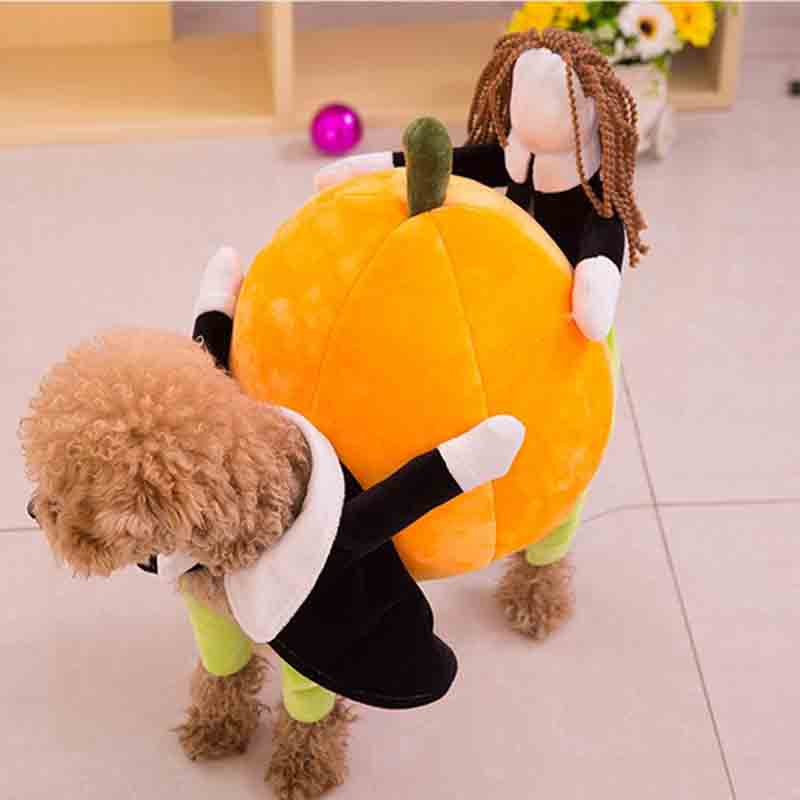 Funny winter dog pumpkin clothes costume for small dog Chihuahua poodle pet cat Party Halloween dog custome clothes jumpsuit(China (Mainland))