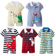 New spring baby boys and girls romper baby cotton short sleeve rompers infants casual striped cartoon crawling clothing(China (Mainland))
