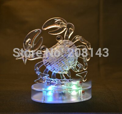 3d Crystal Puzzle Horoscope Cancer 46 Pieces Transparent Flashing(China (Mainland))