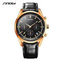 SINOBI Fashion Mens Military Chronograph Wrist Watches NATO Strap Nylon and Leather Watchband Males Golden Quartz