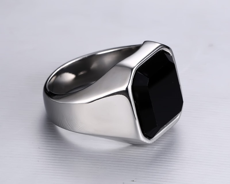 High Quality Men's Ring Black Agate High Polished Stainless Steel Men's Jewelry Silver Color Charm Ring For Men