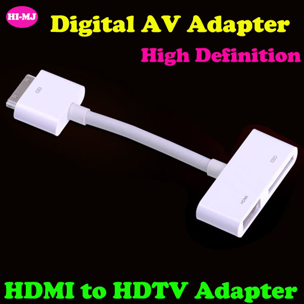 For iPad For iPhone4 4s For iPod Touch High Definition Digital HDMI to HDTV Adapter Digital AV HDMI Adapter Cable(China (Mainland))