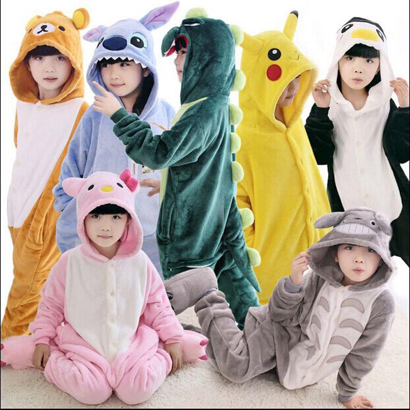 New Baby Boys Girls Pajamas Autumn Winter Children Flannel Animal funny animal Stitch panda Pajamas Kid Onesie Sleepwear