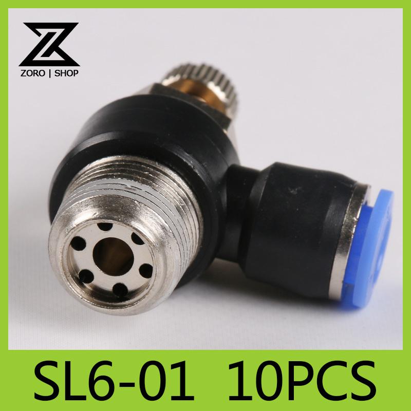 10Pcs/lot Pneumatic throttle valve SL series pneumatically Quick Connector exhaust valve Tube 6mm Thread G1/8 SL6-01(China (Mainland))