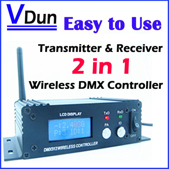2.4G Wireless DMX 512 Controller Transmitter & Receiver 2in1 LCD Display Power Adjustable Repeater Lighting Controller DMX512-C(China (Mainland))