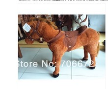 Simulation animal  horse plush toy huge 80x65cm doll whinny neigh musical toy  load-bearing  as 100kg children favorite gift t83