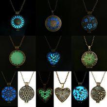 Steampunk jolie magie rond fée médaillon brillent dans le noir pendentif collier cadeau lumineuse Glowing Vintage colliers couleur aléatoire(China (Mainland))