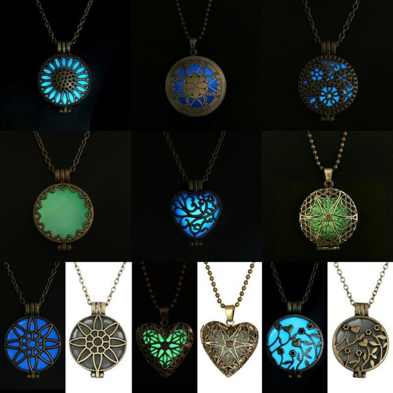 Steampunk Pretty Magic Round Fairy Locket Glow In The Dark Pendant Necklace Gift Glowing Luminous Vintage Necklaces Random color(China (Mainland))