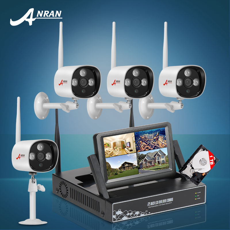 "ANRAN 4CH CCTV System Wireless NVR 7"" LCD Screen H.264 P2P Cloud 720P HD Outdoor IR WIFI IP Camera Security Camera 1TB HDD(China (Mainland))"