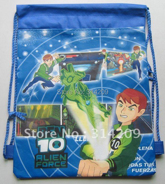 "Free Shipping, Ben 10 Designs Non-woven Material Kids/Children Cute/Cartoon Drawstring Backpack Bag 15""X11"", 12 pcs/lot"
