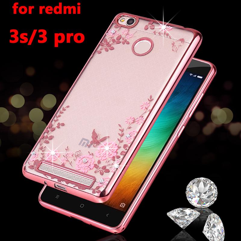 luxury soft tpu phone back coque cover case for Xiaomi redmi3 redmi 3 pro prime 3s s silicon silicone Clear transparent diamond