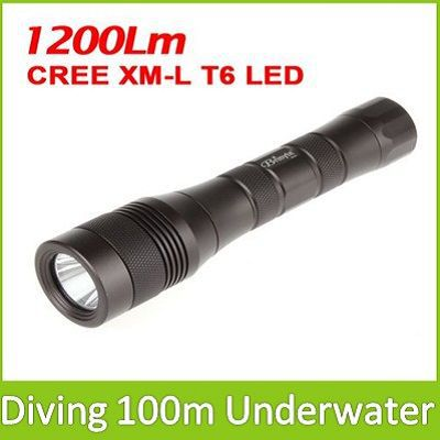 Sale! 1200Lm CREE XM-L T6 LED Underwater Diving Flashlight Waterproof Torchlight(China (Mainland))