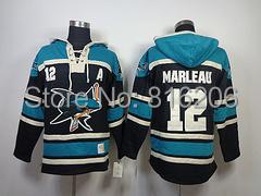 ICE HOCKEY SPORTS Personalized HOODIE JERSEYS Embroidery  12# MARLEAU Black 2014 Hoodie NHL<br><br>Aliexpress