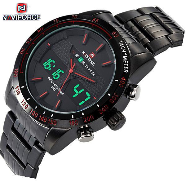Watches men NAVIFORCE 9024 luxury brand Full Steel Quartz Clock Digital LED Watch Army Military Sport watch