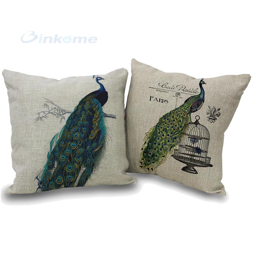 Peacock Linen Blend Throw Pillow Case Sofa/ Home Decor Cushion Cover Fashion Pillowcase 1 PCS Lively Gift(China (Mainland))