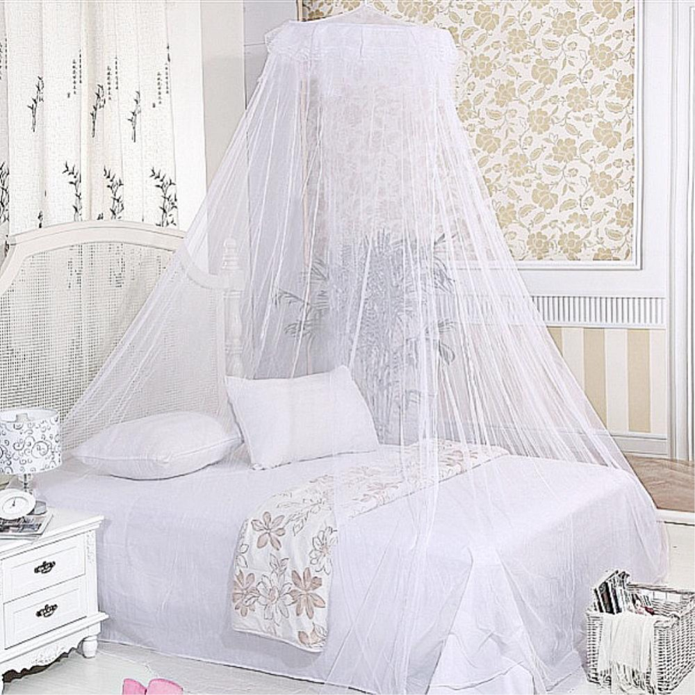 White Color bed Canopy Mosquito Net Hoop Lace Bed Insect Bug Protect Netting EQZ418(China (Mainland))