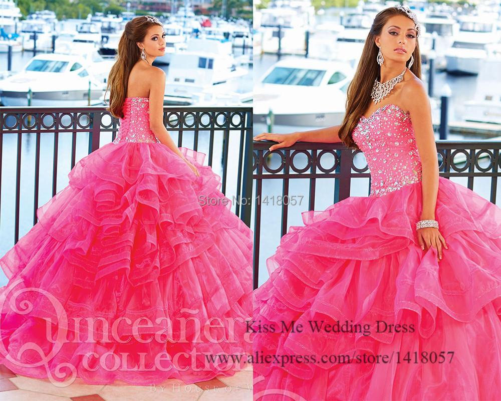 Cheap Quinceanera Gowns 2015 Princess Fuschia Sweetheart Crystal Lace up Organza Vestido de 15 anos de Debutante Dress 15 Years(China (Mainland))