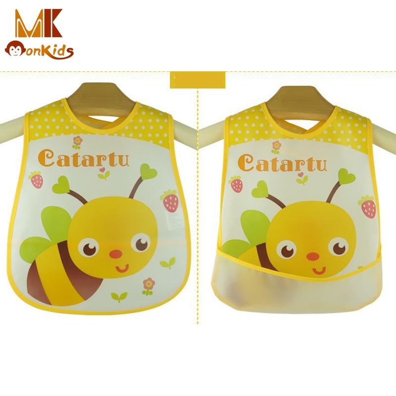 Monkids 2016 Baby Self Feeding Care Waterproof Baby Bibs Infant Boys Girls Lunch Bibs Cartoon Pattern Bib Burp Cloths 10 Colors(China (Mainland))