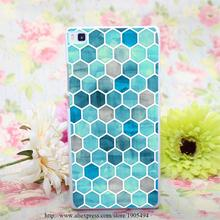 167HQA blue ink water color hellip Hard White Painted Case Cover Huawei Ascend P6 P7 P8 Lite Colorful Protective - the king of castle168 store
