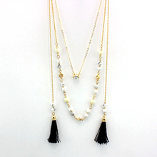 Buy Bohemian Black Tassel Simulated Pearl Necklace Women Gold Color Beads Necklaces Pendants Statement Jewelry Colar Sne160097 for $4.14 in AliExpress store