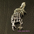 Thailand imports 925 sterling silver, pink eye three-dimensional Skull Pendant