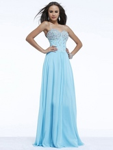 Light Sky Blue Rhinestone Sexy Elegant Long Evening Dresses Crystals Formal Party Gowns - Bridal Dress 2016 store
