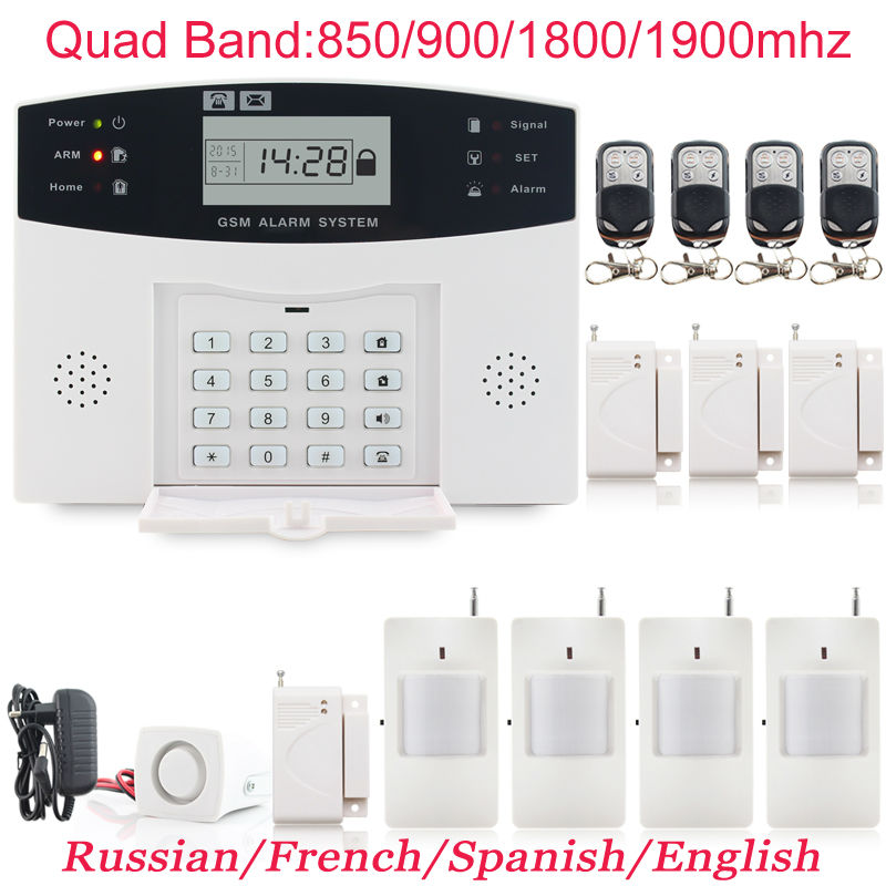 4pcs door sensors Wireless Security Home GSM Alarm systems LCD Display Wired Siren Kit Spanish Voice Prompt(China (Mainland))