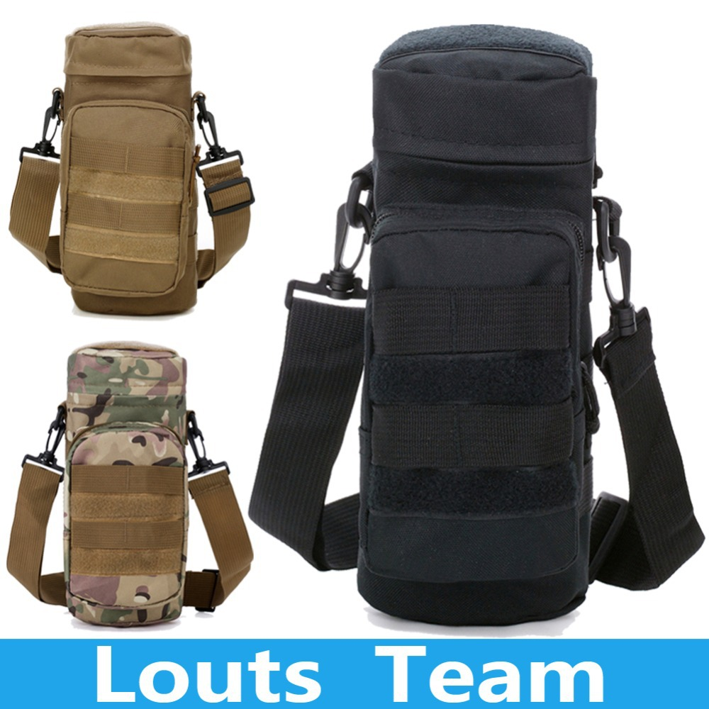 Molle Outdoors Tactical Gear Water Bottle Pouch Kettle Waist Shoulder Bag Army Fans