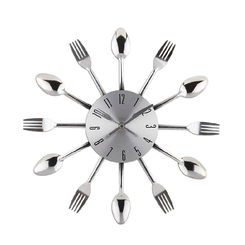 New 2015 Watch Wall Clock Modern Design Silver Kitchen