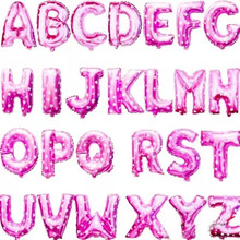 16 inch Pink Letter A to Z Alphabet Foil Balloons Letter Birthday Party Wedding Thanksgiving Decoration event & party supplies(China (Mainland))