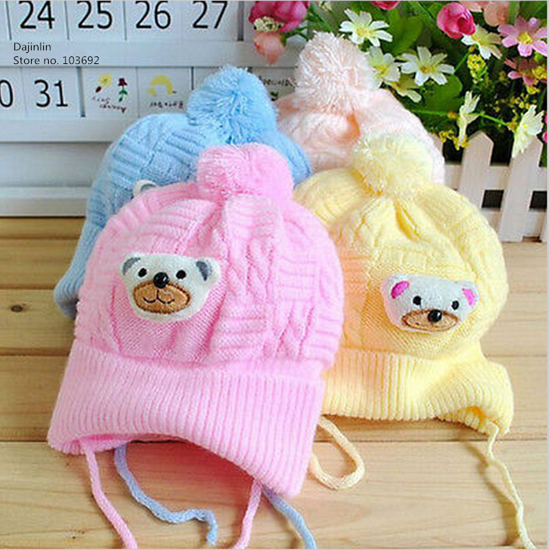 1 PCS Baby hat Boy Girl Infant Toddler Cute Soft Crochet Bear Hat Warm Newborn Cap Baby Photography prop Crochet baby Hat(China (Mainland))