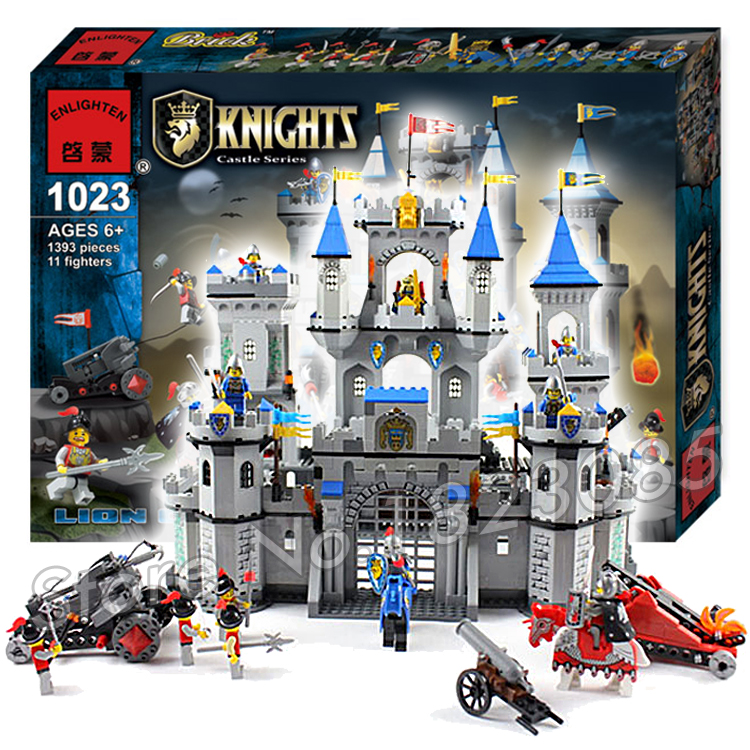 1393pcs Medieval Lion Royal Castle Knight Carriage Model Building Kit Blocks Minifigures Bricks Sets Toys Compatible With Lego(China (Mainland))