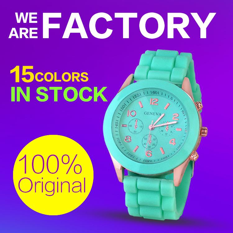 Geneva Unisex Quartz watch 15color men women Analog wristwatches Sports Rose Gold Silicone watches Dress cheapest Classic watch(China (Mainland))