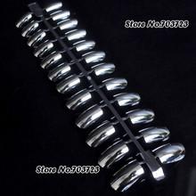 Fashion Metallic Plating Full Cover False Nail Tips Plate Manicure Metalic 24PCS Long Size White N02