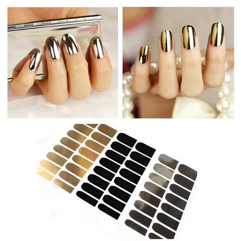 3pcs Nail Sticker Art Decoration Gold Black Silver Nail Foil Wraps Patch Decals Beauty Tools NA010(China (Mainland))