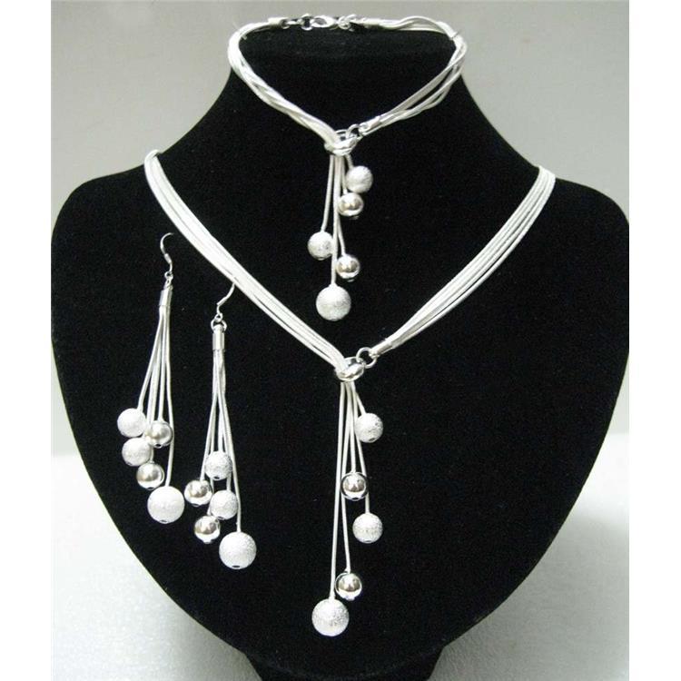 Гаджет  Hot Selling 925 Silver Jewelry Sets High Quality Silver Bead Jewelry Set For Women Wholesale Necklace&Bracelet&Earrings None Ювелирные изделия и часы