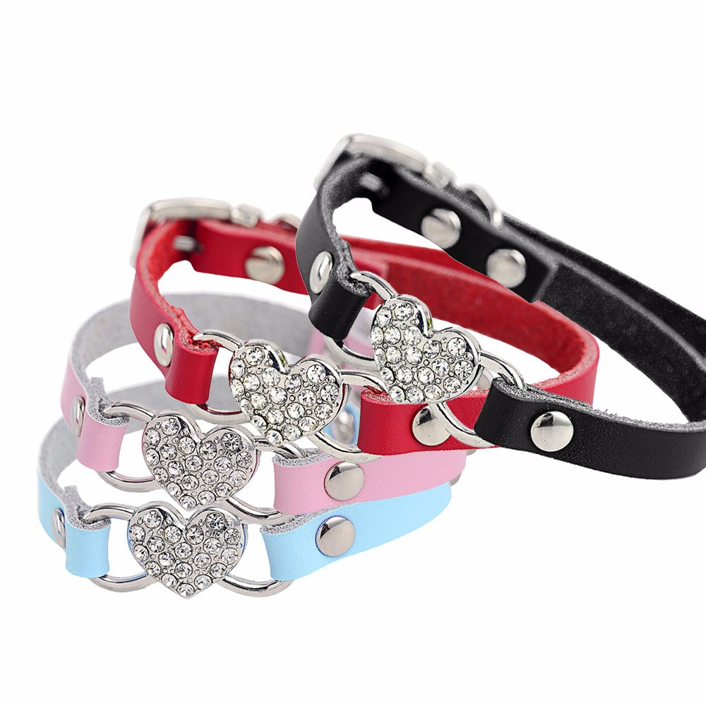 XXS~S Heart Charm Baby Dog Cat Collar Safety Elastic Quick release Adjustable with Soft PU Material 4 colors pet Product & CL11(China (Mainland))