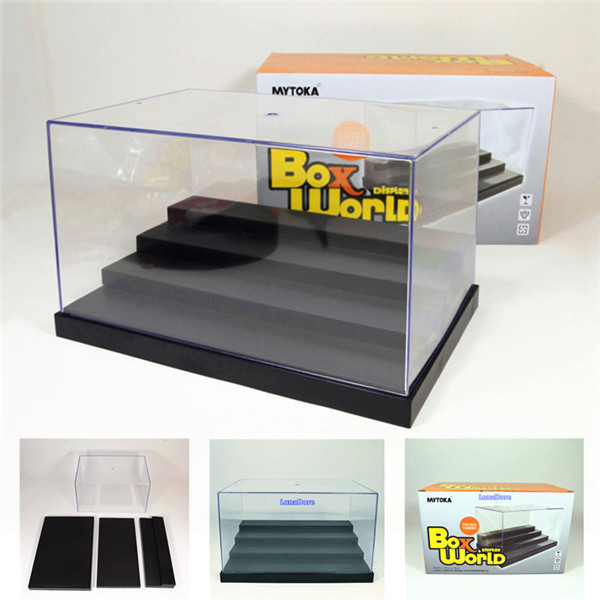 "US warehouse, US shipments,Acrylic Display Case 9.8""L Clear UV Plastic Box Dustproof Toys Protect 4 Step(China (Mainland))"