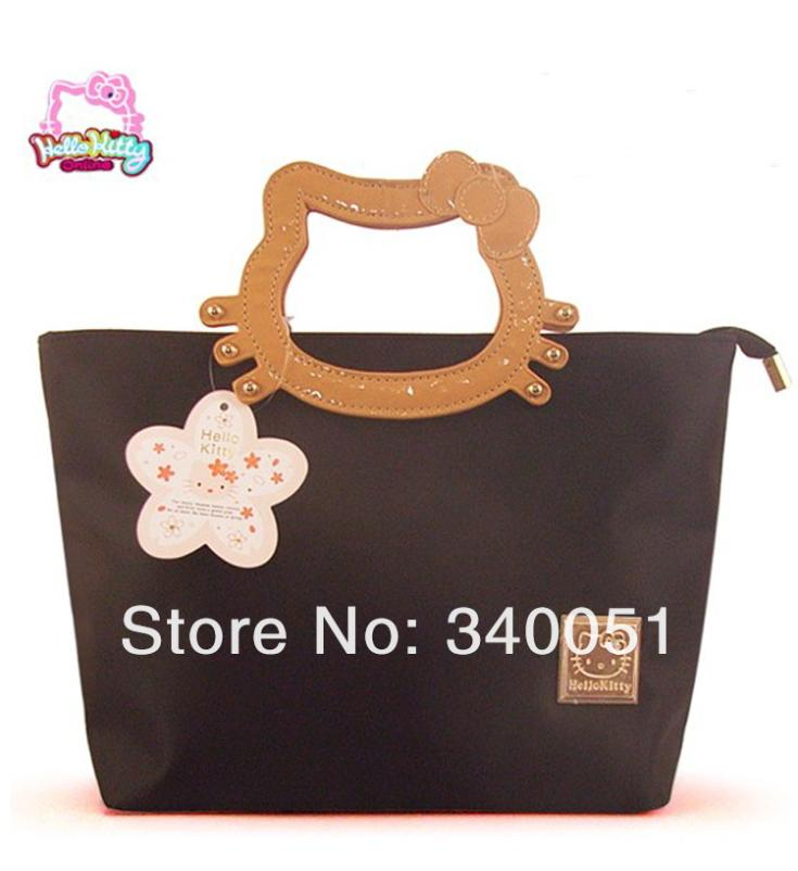 New Arrival Hello Kitty Women Handbags Black Color Women Solid Messenger Bags Totes + Free Shipping(China (Mainland))