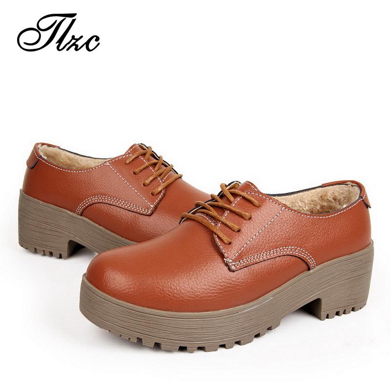 TLZC Top Quality Casual Lady Flats Add Plush Keep Warm Women Shoes EU 35-40 Round Toe Women Flat Platform Shoes Lace Up Footwear(China (Mainland))