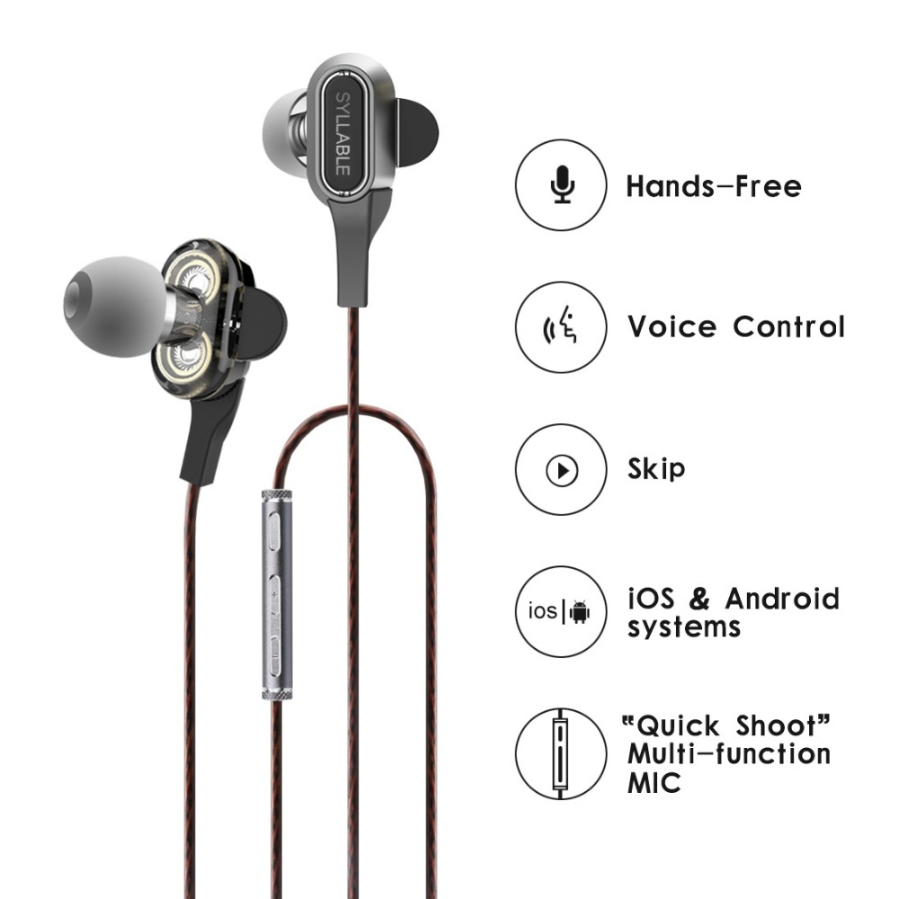 SYLLABLE S1 Wired Headset 3.5mm jack Earphone with Mic and Remote HD sport handsfree headset for mobile phone Stereo earphone