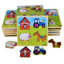 BOHS Small Wooden Animals Cartoon Grab Peg Knob  Puzzles Toy 14.8*14.8*0.8CM(China (Mainland))
