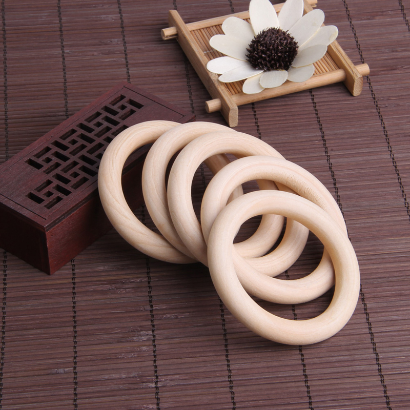 5pcs 70mm Baby Natural Teething Rings Wooden Necklace Bracelet DIY Crafts